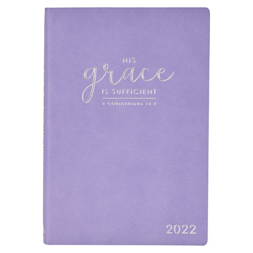 2022 His Grace Is Sufficient Purple Faux Leather My Yearly Planner - 2 Corinthians 12:9