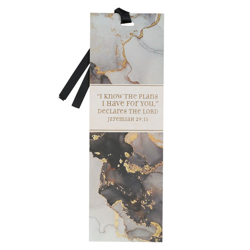 I Know The Plans Black Marbled Premium Bookmark - Jeremiah 29:11