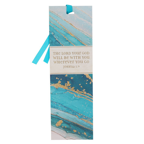 The LORD Will Be With You Bluel Marbled Premium Bookmark - Joshua 1:9