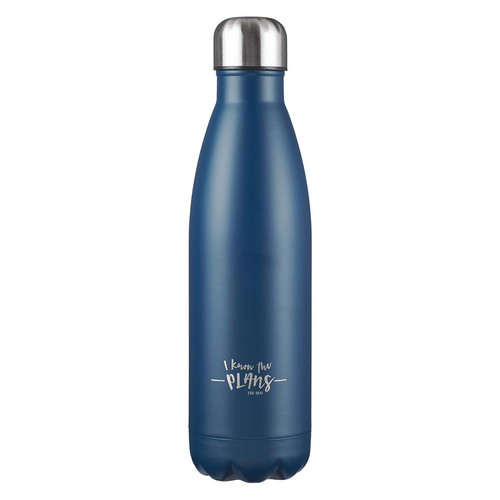 I Know the Plans Navy Stainless Steel Water Bottle - Jeremiah 29:11
