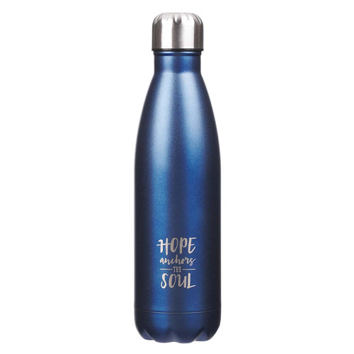 Hope Anchors the Soul in Blue - Hebrews 6:19 Stainless Steel Water Bottle