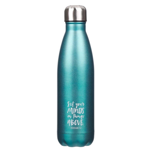 Set Your Mind on Things Above in Aqua - Colossians 3:2 Stainless Steel Water Bottle