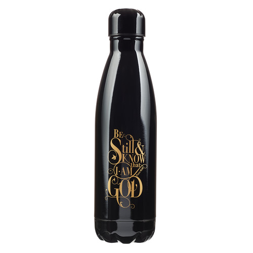 Be Still & Know in Black - Psalm 46:10 Stainless Steel Water Bottle
