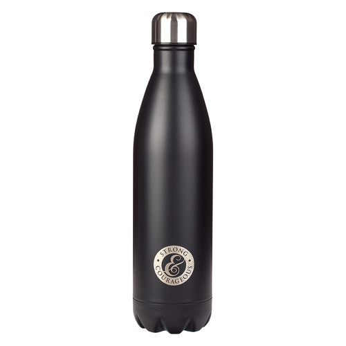 Strong and Courageous in Black - Joshua 1:9 Stainless Steel Water Bottle