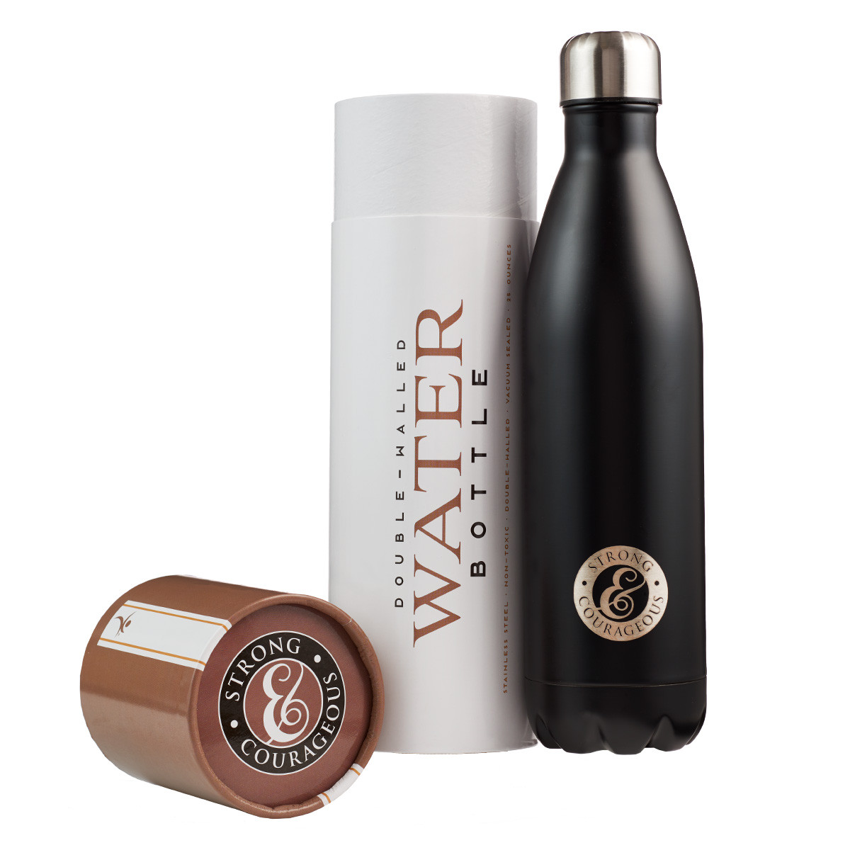 Water Bottle In Spanish: Stainless Water Bottle: Strong And Courageous In Black