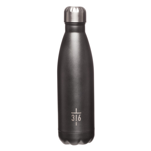 Cross Black Stainless Steel Water Bottle - John 3:16
