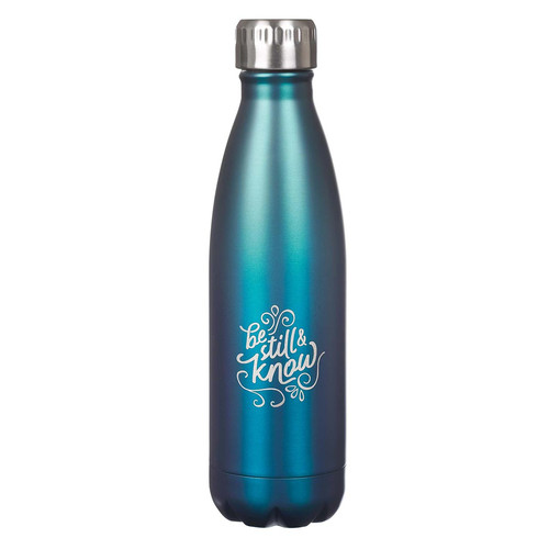 Be Still & Know Frosty Blue Stainless Steel Water Bottle - Psalm 46:10
