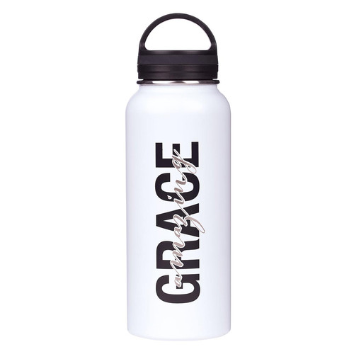 Amazing Grace White Stainless Steel Water Bottle