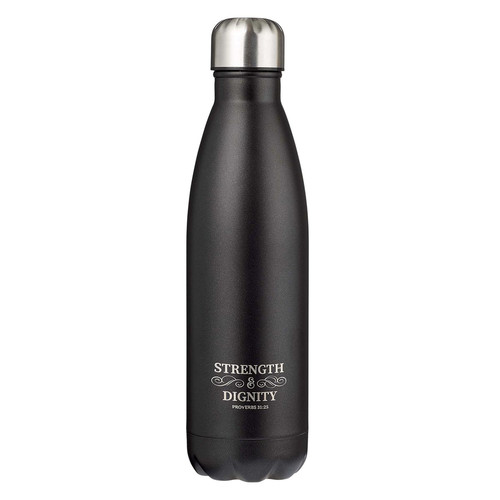 Strength & Dignity Black Stainless Steel Water Bottle - Proverbs 31:25