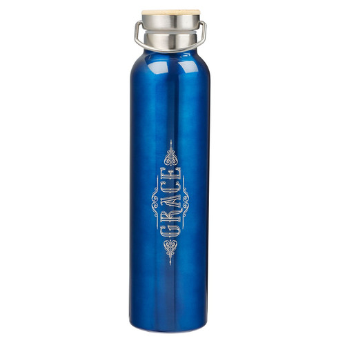 Grace Cobalt Blue Stainless Steel Water Bottle - Ephesians 2:8