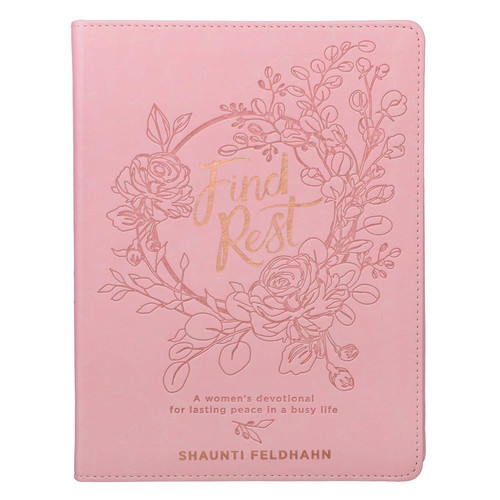 Find Rest Pink Faux Leather Devotional