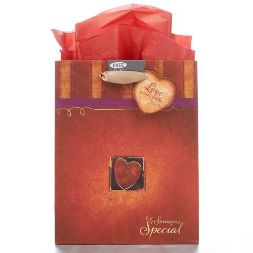 Medium Gift Bag: Love Never Fails - 1 Cor 13:8