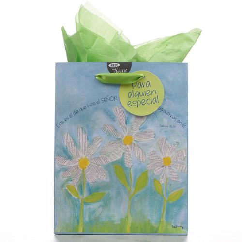 Bolsa de regalo mediana Margaritas blancas, Sal. 118:24
