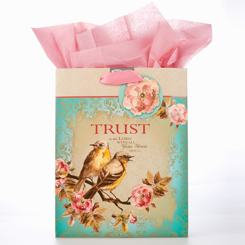 Medium Gift Bag: Trust in Teal - Prov 3:5