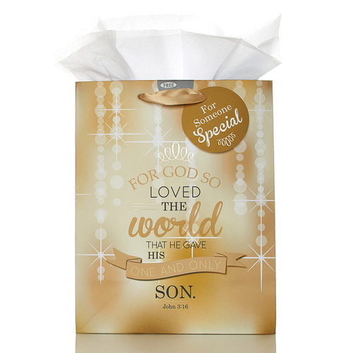 Medium Christmas Gift Bag: For God So Loved the world - Jn 3:16