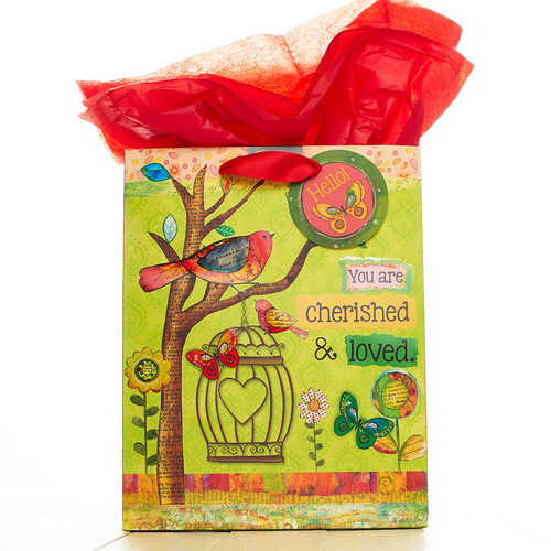Medium Gift Bag: Bird Cherished & Loved