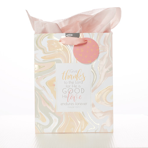 Marble Grateful - Psalm 107:1 Medium Gift Bag
