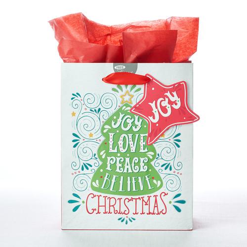 Joy Love Peace Believe Christmas Medium Gift Bag