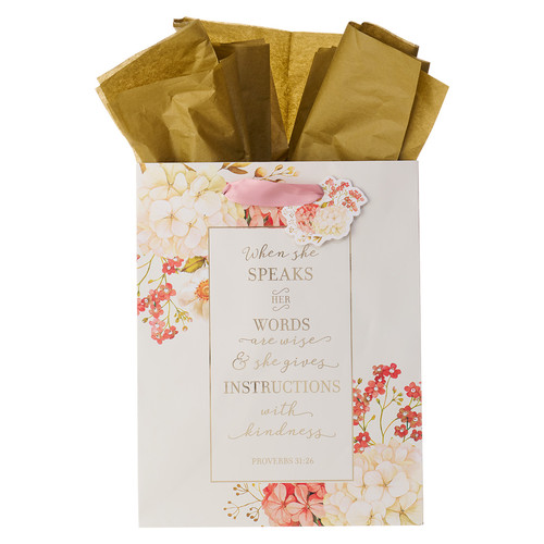 When She Speaks Medium Gift Bag in Pink with Tissue Paper - Proverbs 31:26