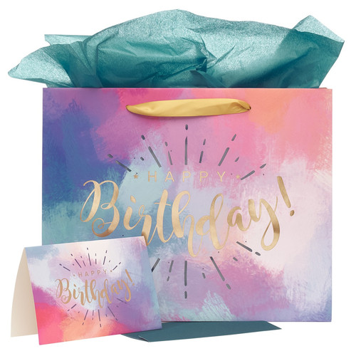 Happy Birthday Multicolored Large Gift Bag Set with Card and Tissue Paper