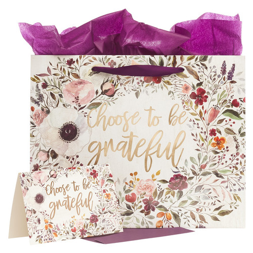 Choose To Be Grateful Large Gift Bag Set in Cream with Card and Tissue Paper