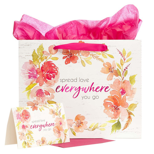 Spread Love Everywhere You Go Large Gift Bag Set in White with Card and Tissue Paper