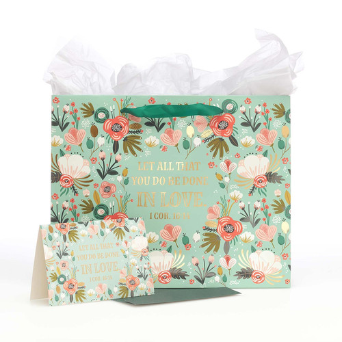 Done In Love Large Gift Bag in Green with Card and Tissue Paper - 1 Corinthians 16:14