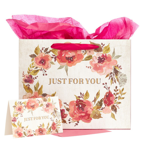 Just For You Large Gift Bag Set in Cream with Card and Tissue Paper