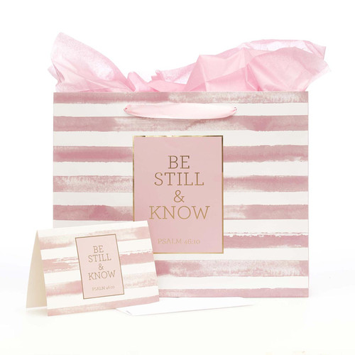 Be Still & Know Large Gift Bag Set in Pink with Card and Tissue Paper - Psalm 46:10