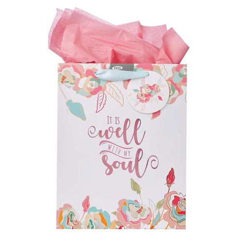 Well With My Soul Medium Gift Bag in White With Card and Tissue Paper