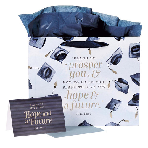 Hope & a Future Large Gift Bag Set for Graduates in Blue with Card and Envelope - Jeremiah 29:11