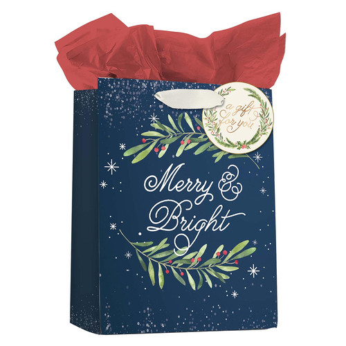 Merry & Bright Medium Gift Bag with Tissue Paper