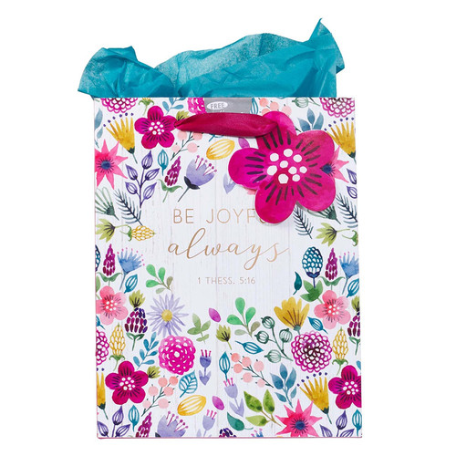 Be Joyful Always Multicolored Medium Gift Bag with Tissue Paper - 1 Thessalonians 5:16