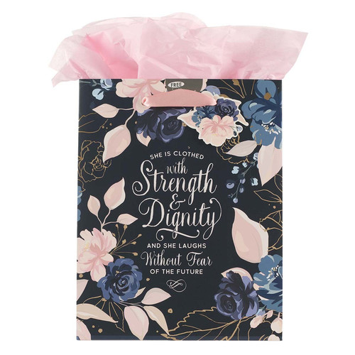 Blue Roses Strength and Dignity Medium Gift Bag - Proverbs 31:25