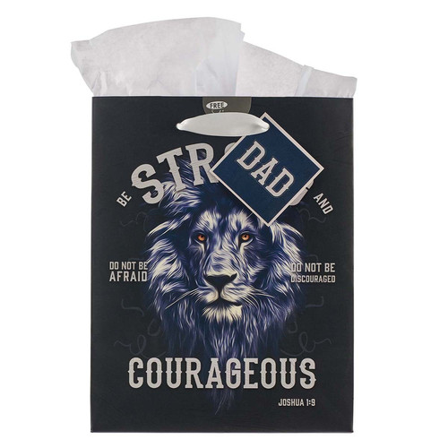 Strong and Courageous Dad Medium Gift Bag - Joshua 1:9