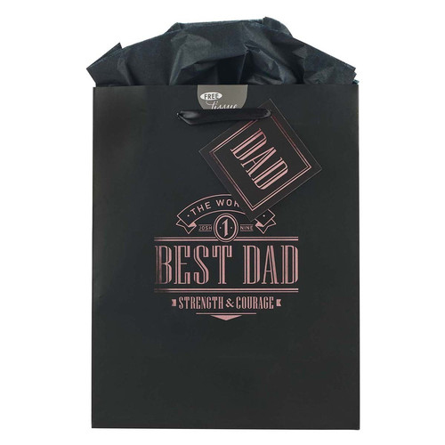 The Worlds Best Dad Black Medium Gift Bag - Joshua 1:9
