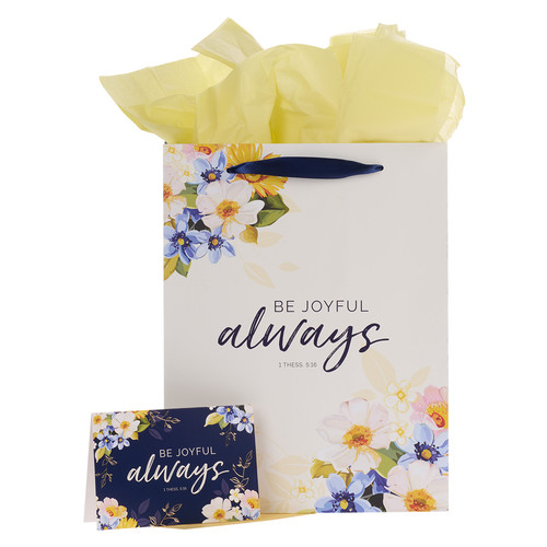 Be Joyful Always Yellow Floral Portrait Gift Bag with Card – 1 Thessalonians 5:16
