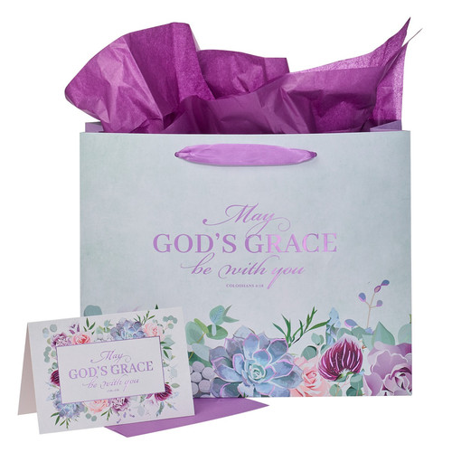 May Gods Grace Be With You Purple Succulent Large Landscape Gift Bag with Card - Colossians 4:18
