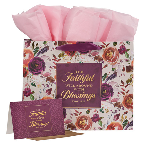 The Faithful Will Abound With Blessing Plum Rose Large Landscape Gift Bag Set with Card - Proverbs 28:20