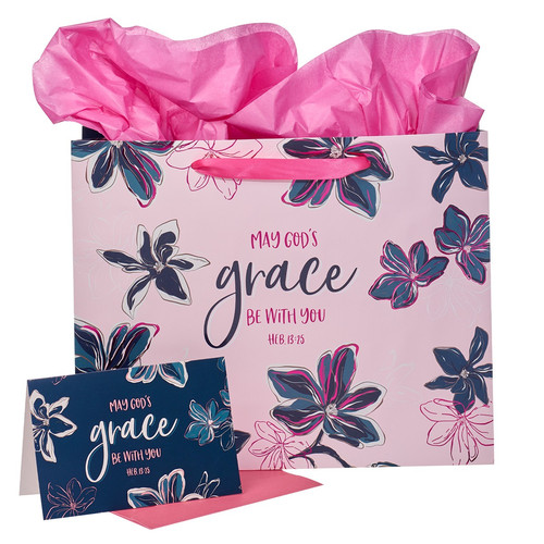 May Gods Grace Be With You Blue Floral Large Landscape Gift Bag with Card - Hebrews 13:25