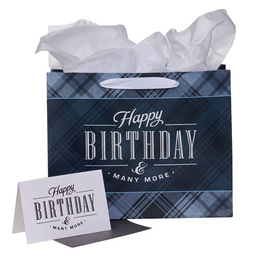 Charcoal and Black Happy Birthday Large Landscape Gift Bag Set with Card