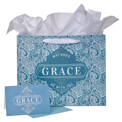 Teal Paisley Gods Grace Large Landscape Gift Bag Set with Card