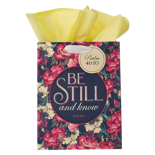 Be Still Vintage Floral Medium Gift Bag – Psalm 46:10
