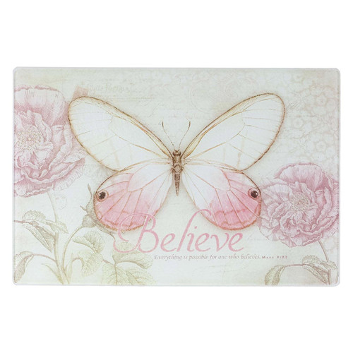 Believe Butterfly Medium Glass Cutting Board