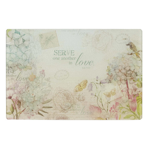Floral Inspirations - Medium Glass Cutting Board