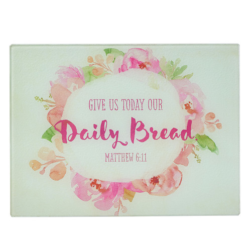 Watercolor Collection Daily Bread- Matthew 6: 9-13 - Large Glass Cutting Board
