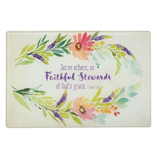 Faithful Stewards - Medium Glass Cutting Board