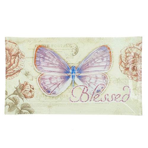 Glass Cookie Tray: Butterfly Blessings