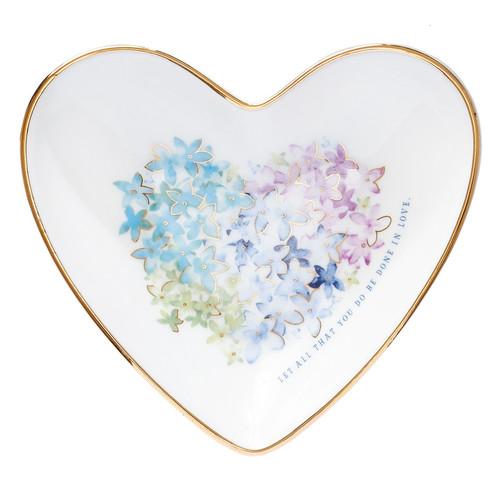 Violet Floral Heart Trinket Tray