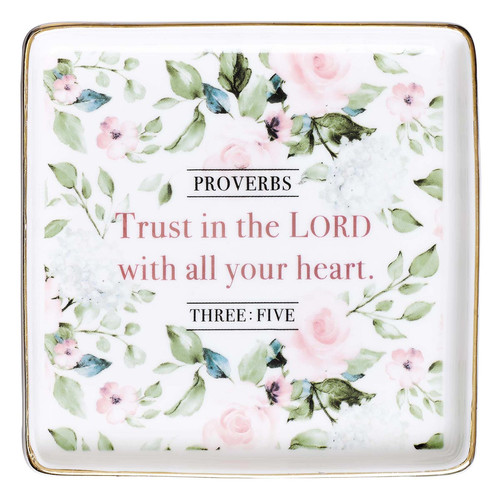 Trust In the Lord Ceramic Trinket Tray - Proverbs 3:5